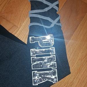 PINK Victoria's Secret Leggings Black Silver Sz S